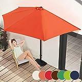 Demi-Parasol   Ø 3 m, avec Manivelle, Protection UV 30+, Polyester, Couleurs au Choix   Demi-Parasol pour Balcon, Terrasse, Jardin (Terracotta)