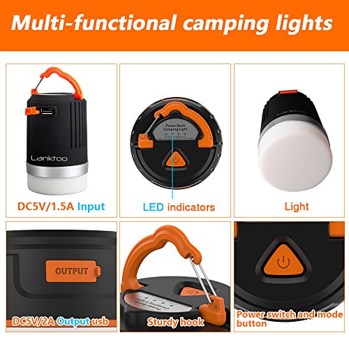 5168sLPuu1L. SS500  - Lanktoo 2 in 1 Rechargeable Camping Lantern & Power Bank for Hiking Fishing Emergencies - Super Bright, Lightweight, Water Resistant.