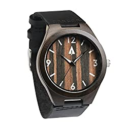 Treehut Mens Ebony Wooden Watch with Genuine Black Leather Strap Quartz Analo...