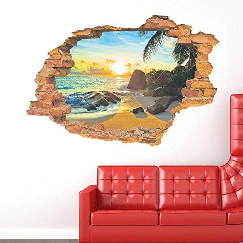 UniqueBella Pegatina de Pared Vinilo Adhesivo Decorativo Efecto 3D Decoración para Hogar Sala Habitación Dormitorio Cocina Paisaje Playa