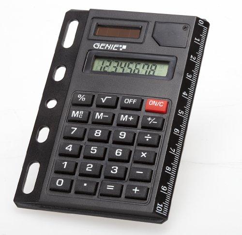 Genie 325 8-stelliger abheftbarer Taschenrechner (Dual-Power (Solar und Batterie), kompaktes Design mit Universallochung) schwarz