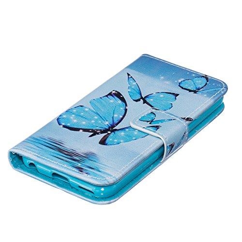 Leather Case Cover Custodia per iPhone 5 5S 5G / iPhone SE ,Ecoway Caso / copertura / telefono / involucro Modello retrò colorato del modello PU con a Bookstyle tasche carte di credito funzione con in blue Butterfly