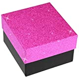 EYS JEWELRY® Schmuck-Etui für Armbanduhr 90 x 85 x 60 mm Kartonage rosa-pink Uhren-Box Schachtel Schatulle Geschenk-Verpackung EYSBOX Glitzer