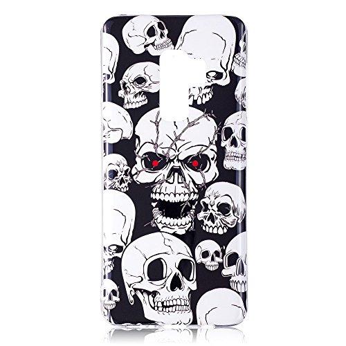 CoverKingz Handyhülle für Samsung Galaxy S9 Hülle Totenkopf Motiv Silikon Case Schutzhülle mit Druck Dünn Slim Bild Handytasche Print Skull Cover Leuchtend Fashion