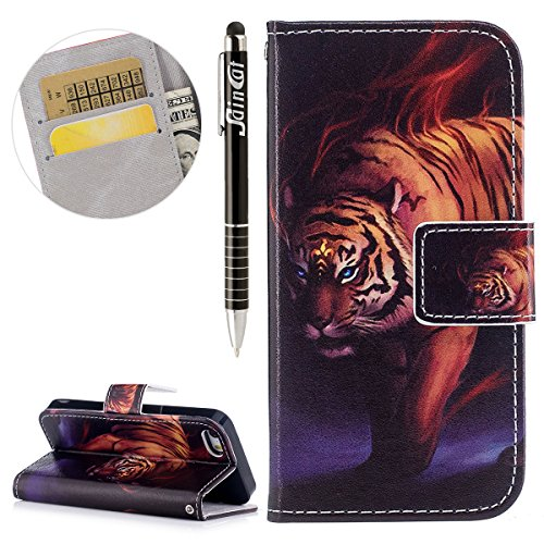 Custodia iPhone 5S, iPhone SE Cover Wallet, SainCat Custodia in Pelle Flip Cover per iPhone 5/5S/SE, Ultra Sottile Anti-Scratch Book Style Custodia Morbida Cover Protettiva Caso PU Leather Custodia Li Tigre