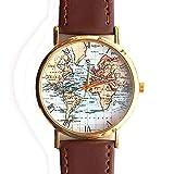 Antike Alte Weltkarte Original Design Unisex Braun Leder Armbanduhr