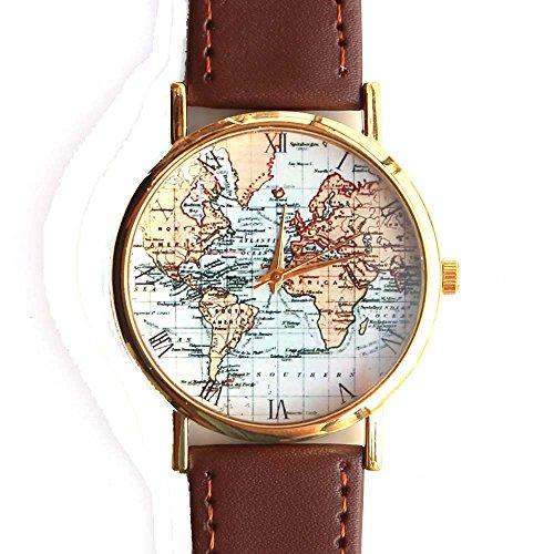 Antike Alte Weltkarte Original Design Unisex Braun Leder Armbanduhr -