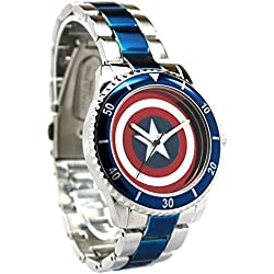 Official Captain America Red White Blue Shield Logo Wristwatch - Boxed