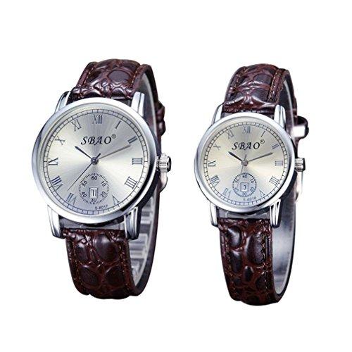 Orologio Per Coppia,Amlaiworld Auto data quarzo movimento cinghie da polso orologi