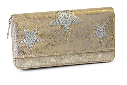 FashionCHIMP Vintage Geldbörse mit Nieten Stern Cut-Outs und Reißverschluss, Portemonnaie für Damen (Gold-Metallic)