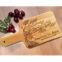 Wedding Gift for Bride & Groom Personalised Wooden Paddle Chopping Board with Handle - Tree of Life Design