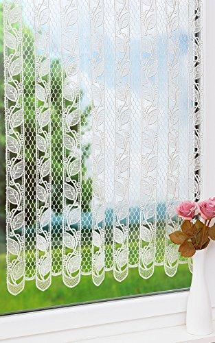 Plauener Spitze Scheibengardine Blättergirlande (Bx H) 80cm * 120cm weiß