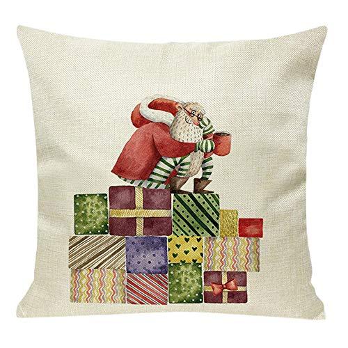 Fenverk Weihnachten Kissenbezug Merry Christmas Decoration BettwäSche Hirsch Sofa Cover Deko Kissen KissenhüLle Kopfkissenbezug Dekoration Super Weich Sofakissen FüR Wohnzimmer Bed Home 45x45cm(k)