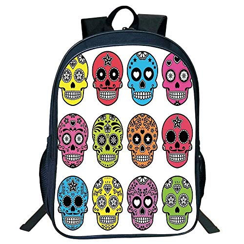 Deglogse Schulrucksack, Schultasche Travel Bookbag, Stylish Unisex School Students Black Skull,Ornate Colorful Traditional Mexian Halloween Skull Icons Dead Humor Folk Art Print,Multi Kids. (Halloween Humor College)
