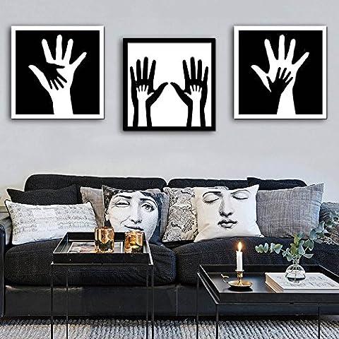 modylee grande mano e il piccolo a mano cornice tela cerata Video decorativa dipinti soggiorno, camera PC 3pittura a olio su tela, Black,
