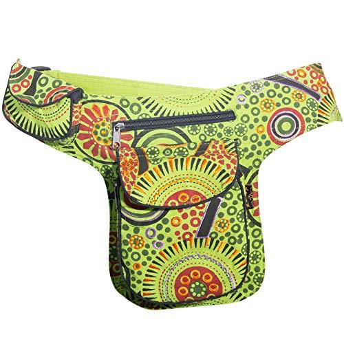 KUNST UND MAGIE Goa Schulter/Bauchtasche Gürteltasche Bauchgurt Hippie Psy, Farbe:Grün -