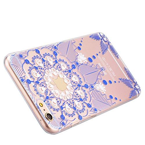 SMART LEGEND iPhone 6 Plus/6S Plus Weiche Silikon Hülle Bumper Schutzhülle Transparent Hülle mit Rosa Mandala Blumen Muster Handyhülle Crystal Schutzhülle Kirstall Clear Etui Ultra Slim Durchsichtig W Blau