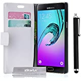 zStarLn® blanc Luxe Portefeuille Etui Housse pour Samsung Galaxy A3 2016 Coque en cuir + 3 Films en Stylet Touch Pen OFFERTS