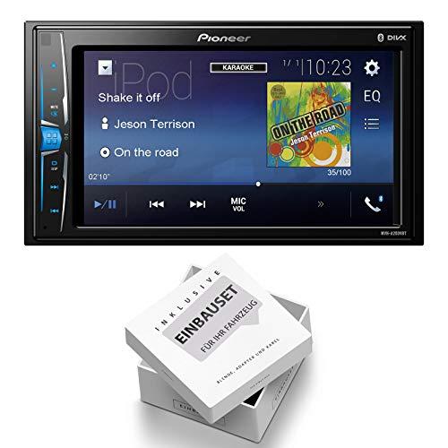 Pioneer Radio MVH-A200VBT 2DIN Bluetooth mit Einbauset für Nissan Juke (F15) 2010-2014