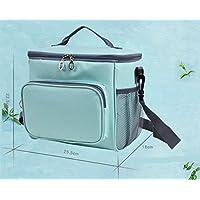 Preisvergleich für Yudanwin Leinwand-Lunch-Tasche Oxford Cloth Kalte Isolierung Lunch Kühltasche Lunch Bag (Blau-Grün)