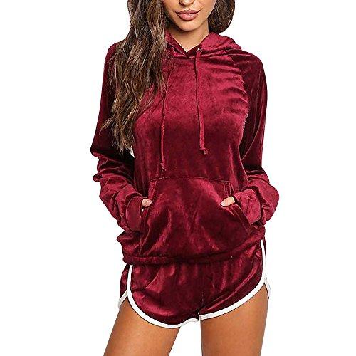 FORH Kleidung 2PCS Sets Damen langarm Hoodies Sweatshirt Chic velour Kapuzenpullover Clubwear mit Reizvolle High Waist Kurze Hose Sport Jumpsuit Sets Anzug (S, Rot) Velours-activewear-set