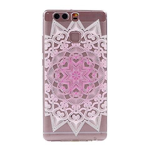 Huawei P9 Case,Huawei P9 Transparent Case,Huawei P9 TPU Case, Cozy Hut [Ultral Thin] [Scratch Resistant] Transparent Clear Soft TPU Bumper Case Cover for Huawei P9 (5,2 inch), Beautiful Flower Series Print Clear TPU Gel Rubber Skin Cover for Huawei P9 (5,2 inch) - Pink