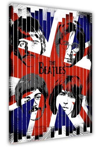 Union Jack Leinwand (Moderne Pop-Art auf Leinwand, Bilder der Beatles Portrait Union Jack Flagge Retro Prints Raum Dekoration Home Décor, canvas, 50 x 40 cm, 4)