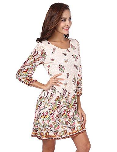 BaiShengGT Rundhals 3/4-Arm Minikleid Spitze Kleider Mini Elegant Partykleid Apricot-Blumen S
