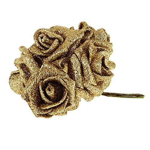 che Schaum Rosen, Foamrosen Schaumrosen Schaumköpfe Künstliche Blume Rosa Brautstrauß Dekor Blumen-Bouquet Hochzeit Party - Gold ()
