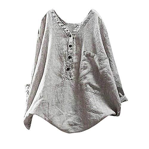 Supertong Damen Bluse Langarm Pullover Gestreiftes Top T-Shirt Große Größe Tunika Bluse Sommer Mode V-Ausschnitt Knopf Lose Leinen Hemd Mit Tasche