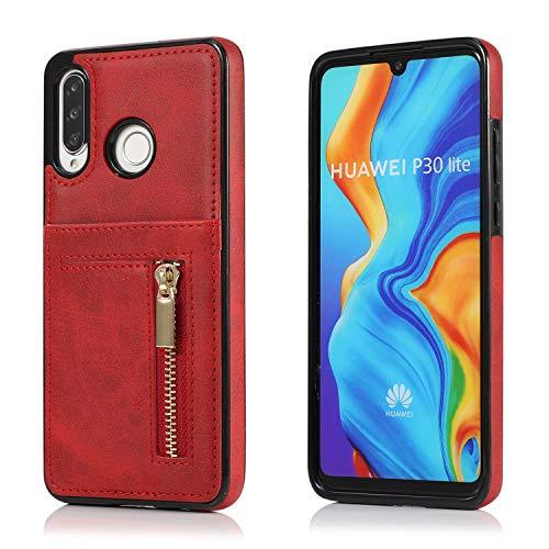 Yobby Hülle für Huawei P30 Lite/Nova 4E,Ultra Slim Retro PU Leder Brieftasche Handyhülle mit Kartenfach Rückseite und Reißverschluss,Stoßfest Bumper Schutzhülle für Huawei P30 Lite/Nova 4E-Rot -
