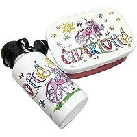 Brotdose mit Trinkflasche mit Namen, Einhorn, Unicorn, personalisiertes Kindergarten-Frühstücksset, Rosirosinchen, Rosti Mepal