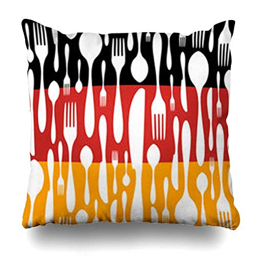 Klotr Kissenbezugs German Cuisine Cutlery Spoon Knife Fork Pattern Chef On Black Red Yellow Wide Food Drink Pillowcase Square Size 18 X 18 Inches Home Decor Cushion Cases -