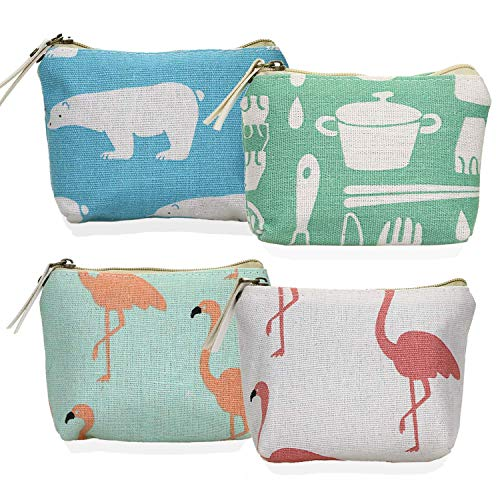 YOUSHARES 4 Packs Coin Purse - Mini Cute Animal Style Designed Zipper Stationery Cash Pouch Organizer Small Wallet Bag - Coin Organizer