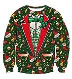 TUONROAD Herren Damen Pullover Weihnachten 3D Gedruckt Sternenhimmel Dinosaurier Pizzakatze Regenbogen Weihnachtspullover Rundhals Langarmshirt Mit Weihnachtsmotiv Druck Loose Jumper Sweatshirt