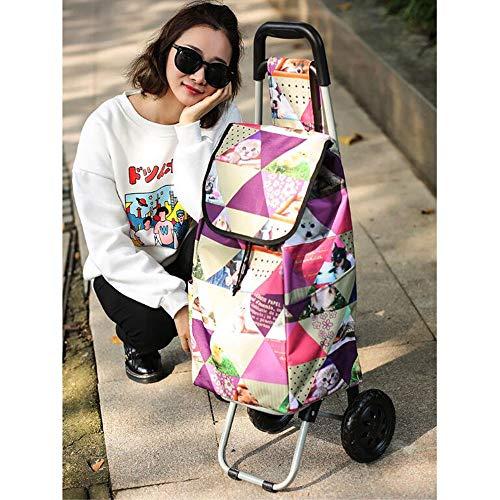 ASJUNQ Einkaufs Trolleys Wasserdichtes Und Strapazierfähiges Gewebe Reißverschlusstasche Hinten Stahlrohrstange Einkaufswagen Große Kapazität,B -