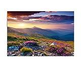 120x80cm - Fotodruck auf Leinwand und Rahmen Berge Alpenrosen Berge Himmel Sommer - Leinwandbild auf Keilrahmen modern stilvoll - Bilder und Dekoration