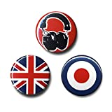 Musik - Sound Addict: Kopfhörer - Union Jack - Mod Button 3er Set - Anstecker - Lizenziertes Originaldesign - LOGOSHIRT