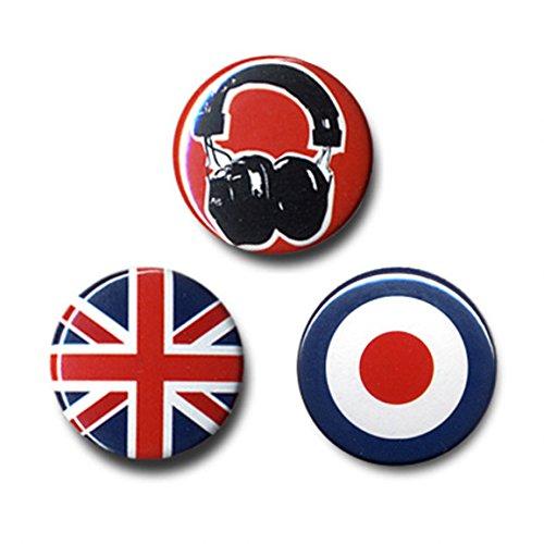Logoshirt Musik - Sound Addict: Kopfhörer - Union Jack - Mod Button 3er Set - Anstecker - Lizenziertes Originaldesign - Mod-button