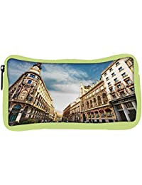 Snoogg Eco Friendly Canvas Angled Building Designer Student Pen Pencil Case Coin Purse Pouch Cosmetic Makeup Bag