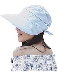 eba23b1c072 Women Sun Hat Ladies Summer Wide Brim Visor Cap Adjustable Beach Outdoor  Bucket Hat with Bowknot