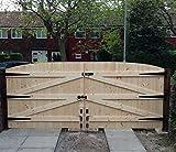 Holz Auffahrt Gates 6ft höchsten Punkt X 7ft breit (Einzelbett 15,2cm jedes Tor)