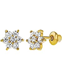 1c5887878 18k Gold Plated Clear Crystal Flower Toddler Baby Girls Screw Back Earrings