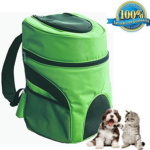 aoxsen Rucksack zum Tragen von Haustieren, 2 Schultergurte, von Fluggesellschaften zugelassen, ideal für Welpen, atmungsaktiver Netzstoff, mit Fenster, Rucksack für Reisen & fürs Camping