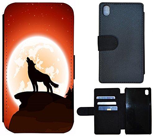 Coque Flip Cover Housse Etui Case Pour, Tissu, 1190 Gitarre Rot Lila, Apple iPhone 4 / 4s 1199 Wolf Nacht Mond Schwarz Braun