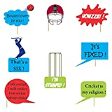 #10: Untumble World Cup Cricket photo booth party props for a cricket party,made of artboard.multicolor - Set of 8