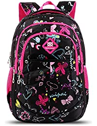 27c946a546f4 Bebamour School Bag Backpack for Girls Butterfly and Sweetheart Pattern Kids  Backpack