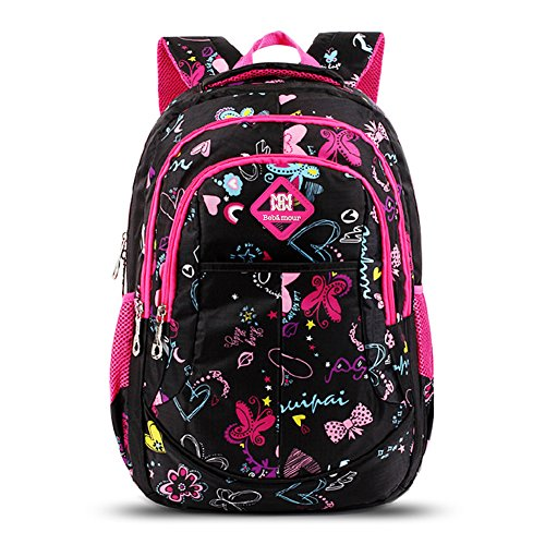 11150b650f77 Bebamour School Bag Backpack for Girls Butterfly and Sweetheart Pattern  Kids Backpack