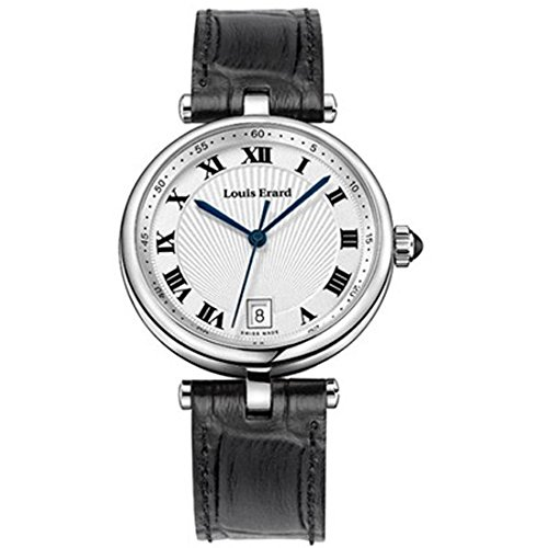 LOUIS ERARD 11810AA01BDCB5 LADIES BLACK CALFSKIN STAINLESS STEEL CASE WATCH