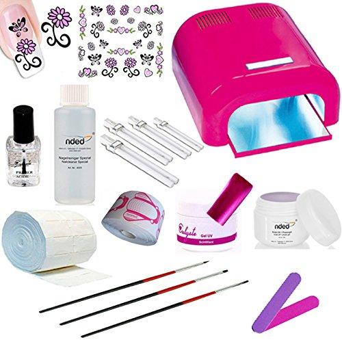 Kit manucure complet pour débutant en gel UV Calyste - Lampe UV Rose faux ongles